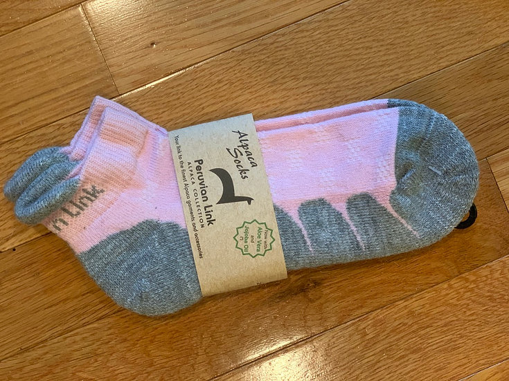 Pink and Gray Alpaca Ankle Socks