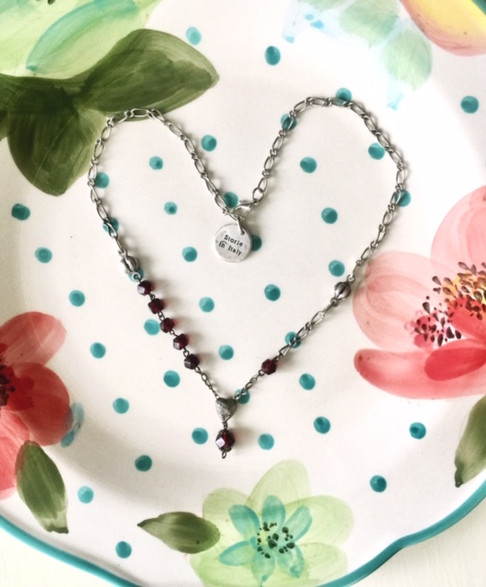 Sweetheart puff rosary necklace