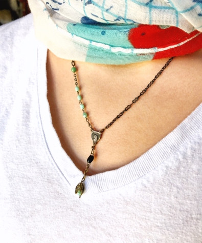 Styled rosary drop necklace
