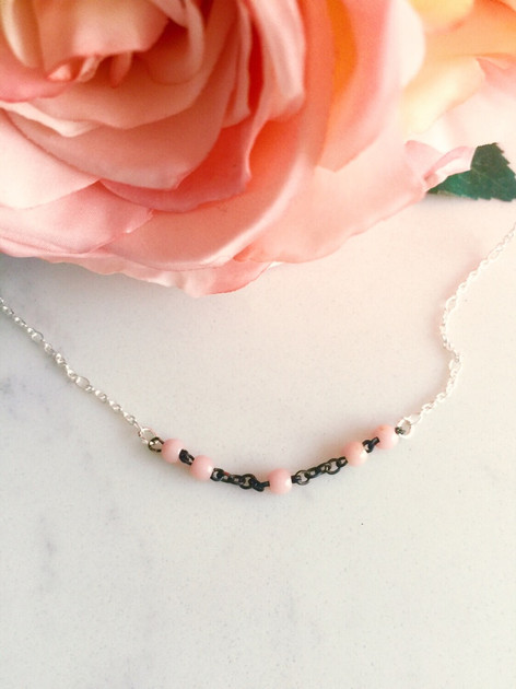 Rosary bits and silver short necklace