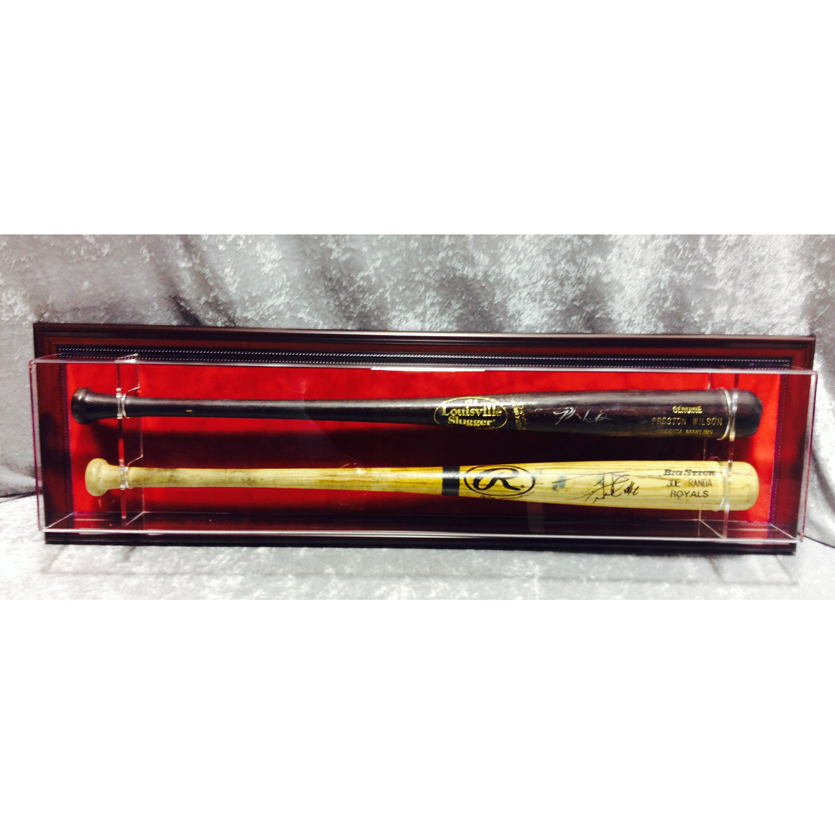 double baseball bat display case mahogany frame with red mat