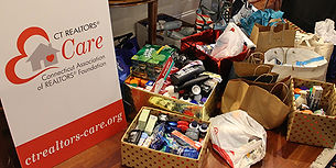 Photo of supplies collected for a toiletry drive for Veterans