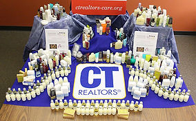 Small toiletries collected during a toiletries drive