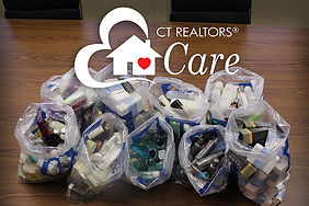 Bags of toiletries collected for homeless shelters