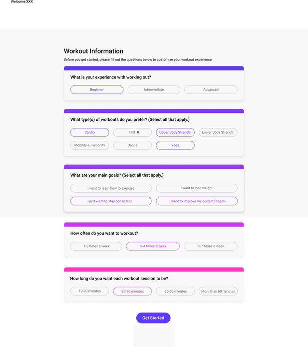 Onboarding screener page to customize the experience for an individual user