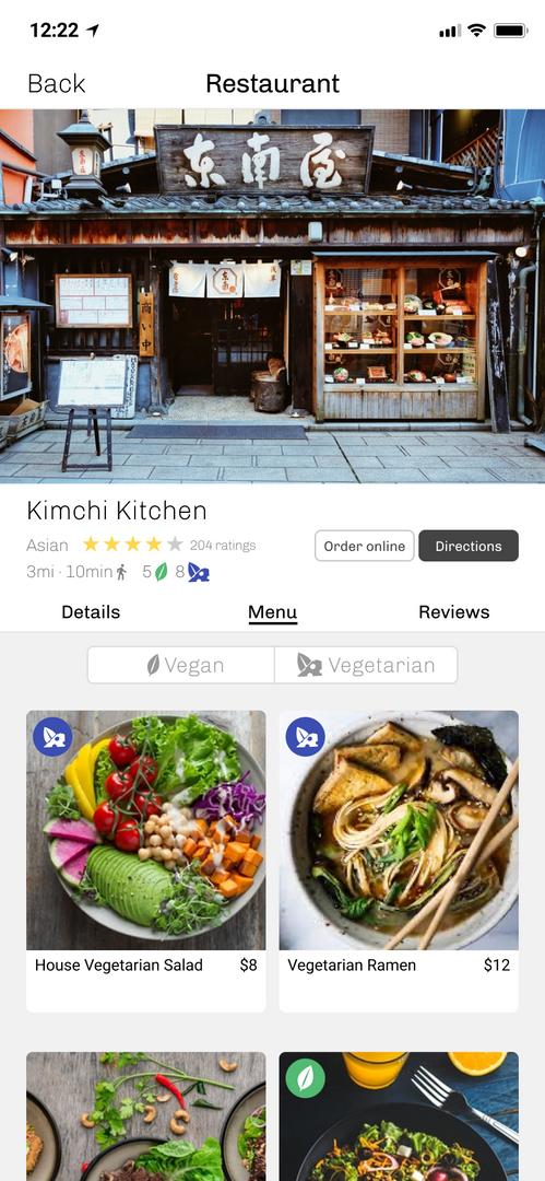 Restaurant display page