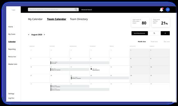 Team calendar mock-up