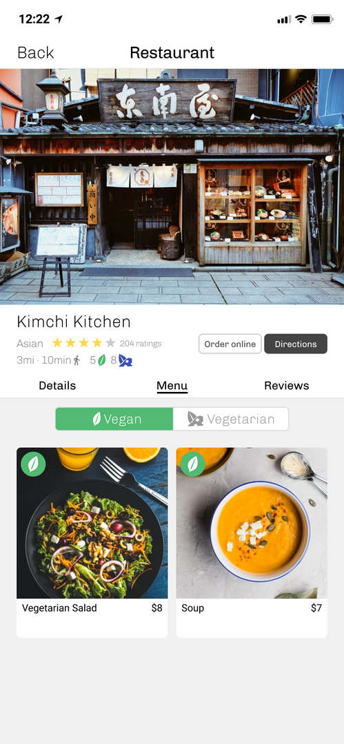 Toggle the menu for Vegan options