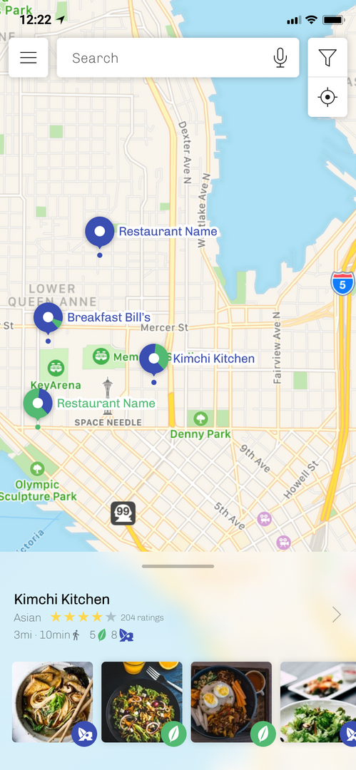 Landing page shows relevant restaurants to users