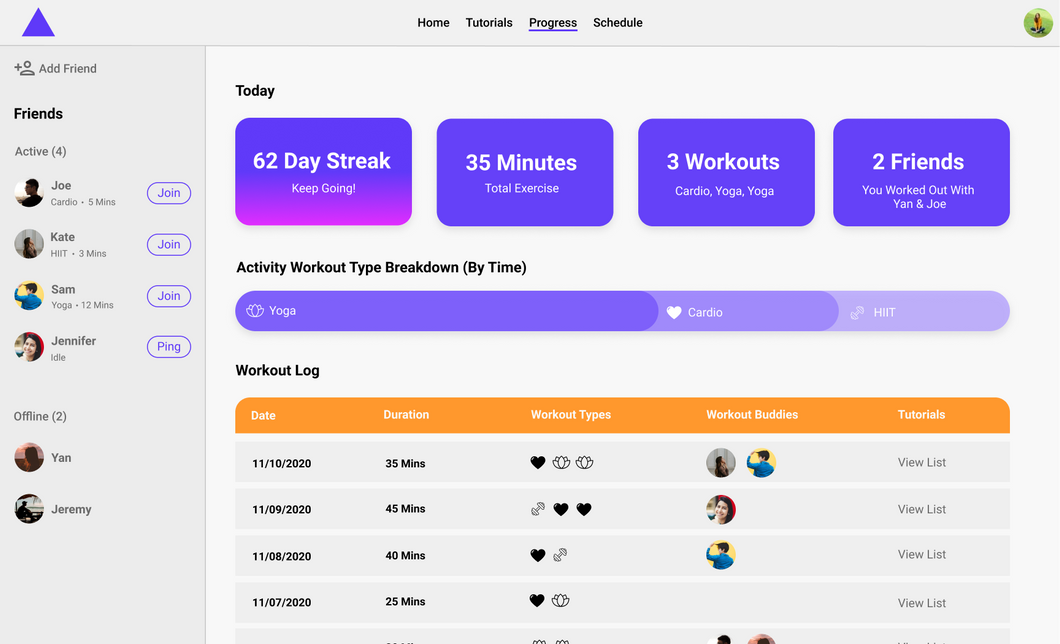 Track your activity progress in the Progress page
