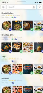 Swipe up to open the drawer of relevant places or start a search