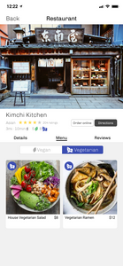 Toggle the menu for Vegetarian options