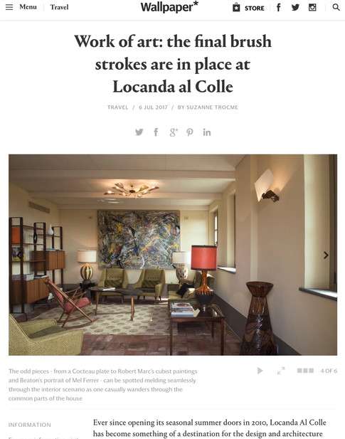"""""""Work of art: the final brush strokes are in place at Locanda al Colle"""", Wallpaper"""