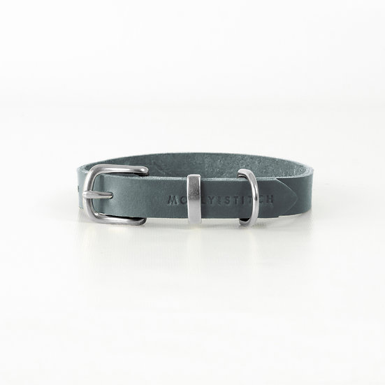 "Lederhalsband ""Butter"", Zeitloses Grau 