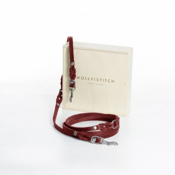 "Hundeleine ""Butter"" Leder, 3x verstellbar, Chilli Rot 