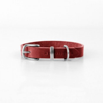"""Lederhalsband """"Butter"""" Chilli Rot  
