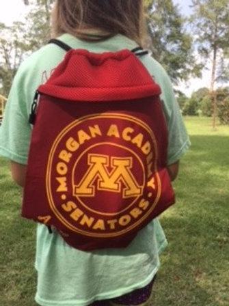 Cinch Bag with Mesh Trim Circle Logo