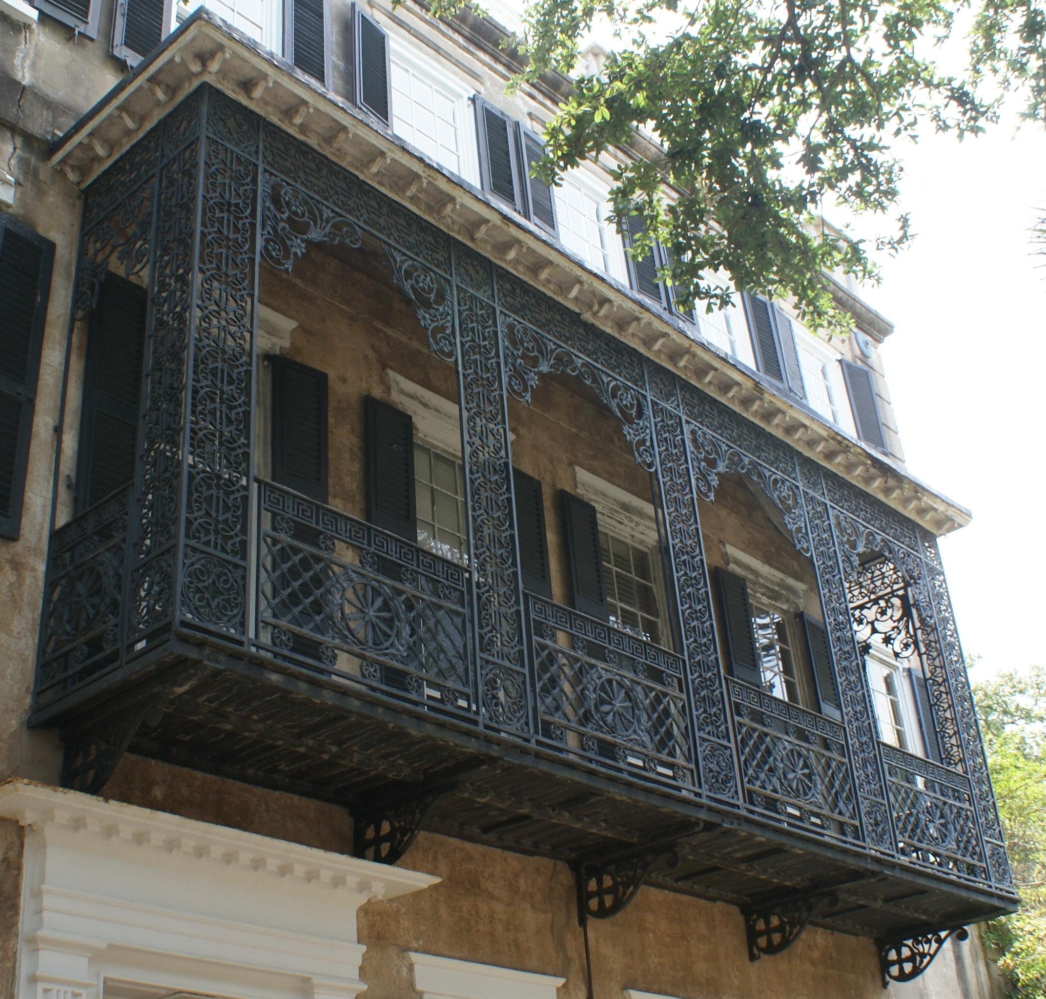 Beautiful, cast iron balcony on Meeting Street Home