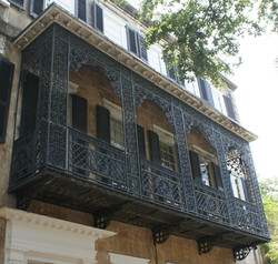 Beautiful, cast iron balcony on Meeting Street Home