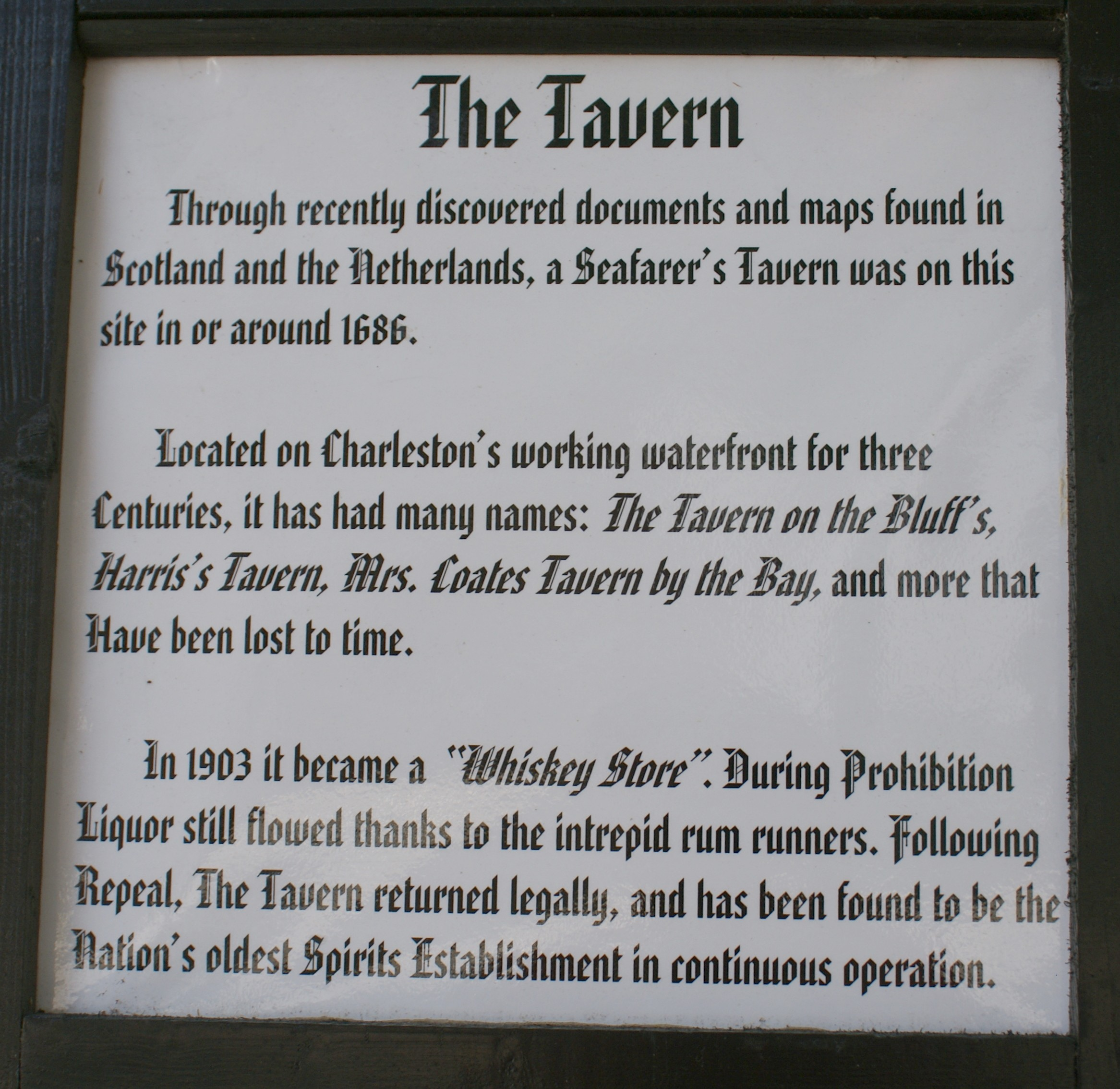 History of the Tavern