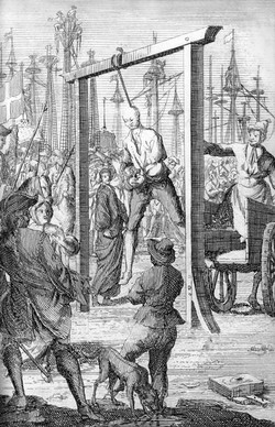 The Gentleman Pirate was hanged at the Charleston waterfront.