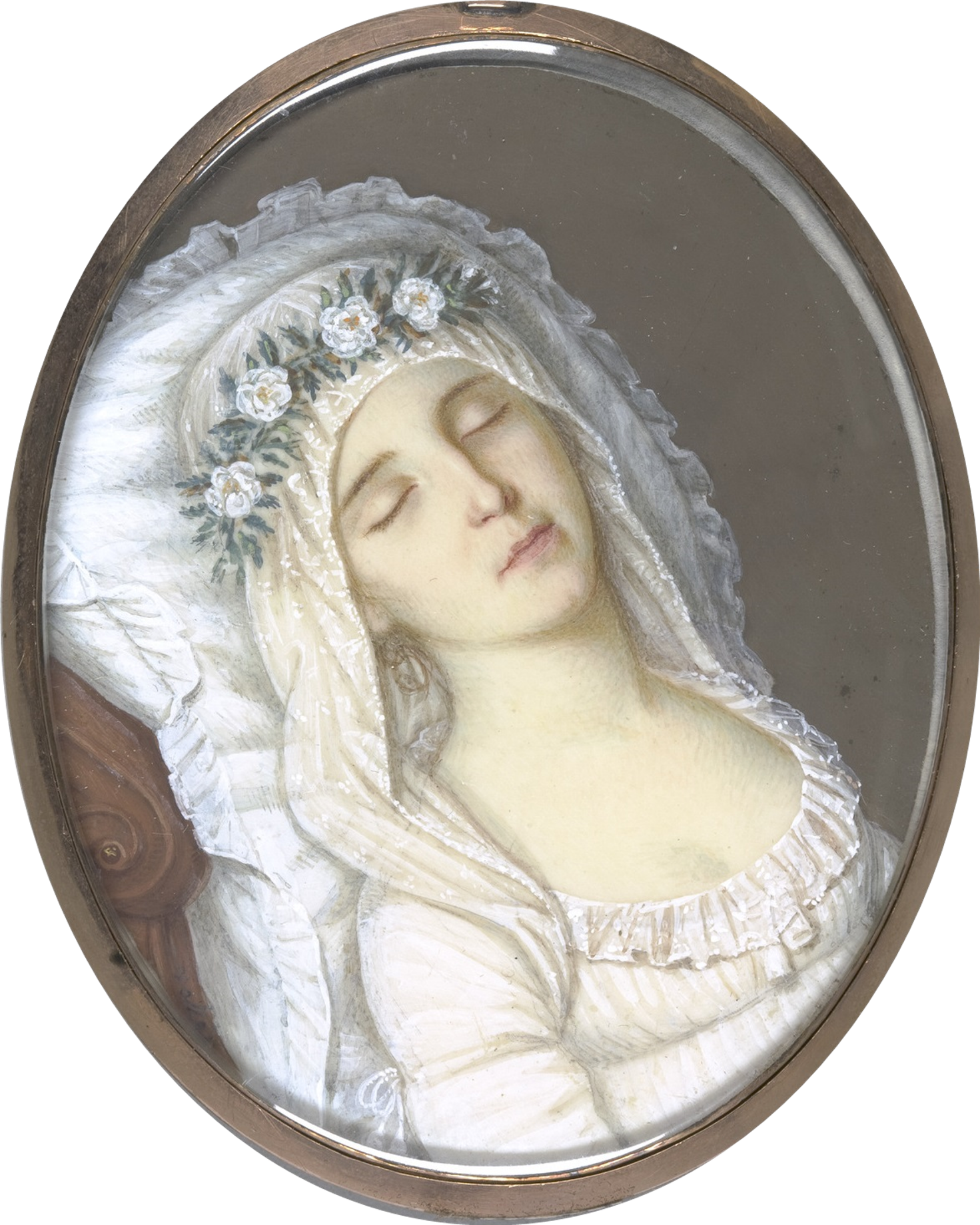 Bureid in her wedding dress, Harriet Mackie died just before her wedding in 1804.