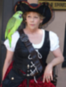 Sabrina and Doozer, the parrot, on Pirate Tour