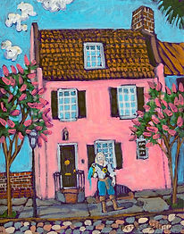 Painting of Eric at the Pink House in Charleston