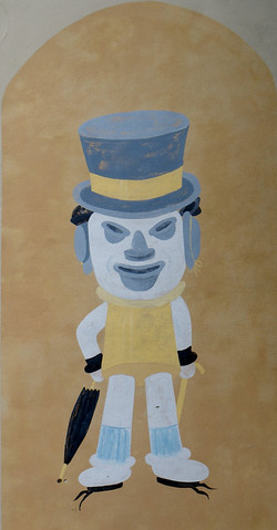 The Hat Man is actually an advertisement for hats painted by the store owner in the 1890s.
