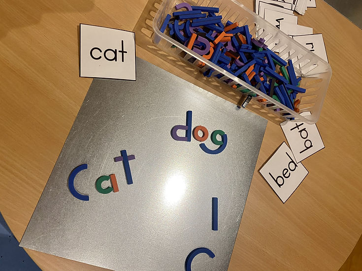 Magnetic letters and word cards.