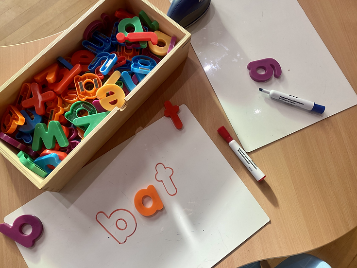 magnetic letters on paper
