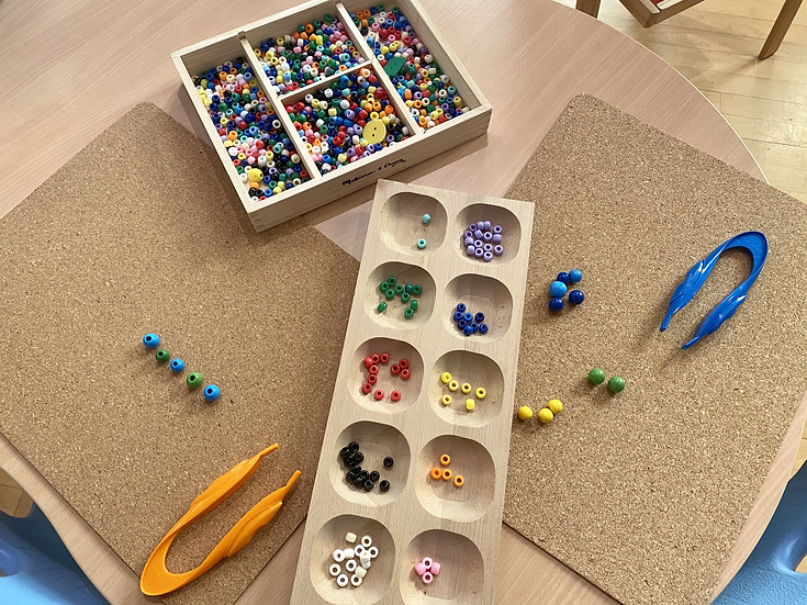 Toy beads organized by colour