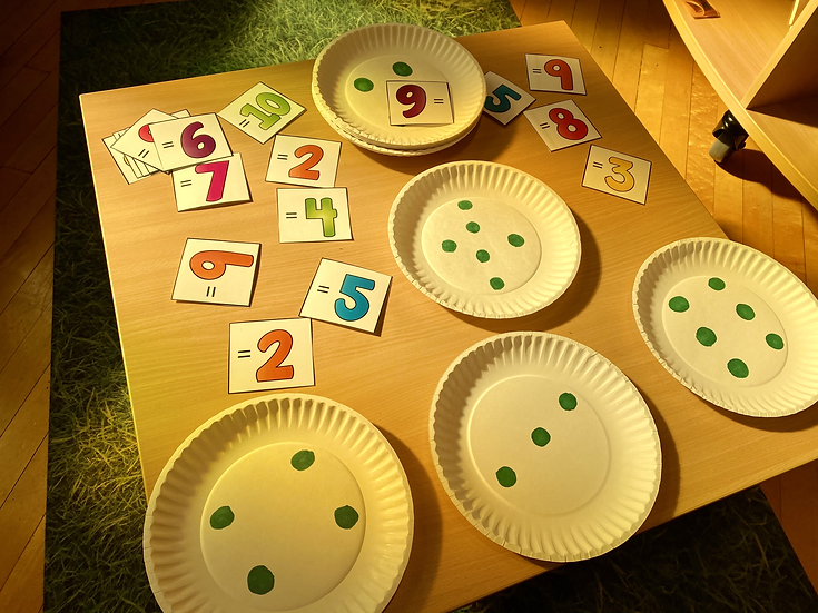 paper plates with dots and number cards