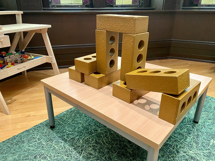 Styrofoam blocks on top of a table
