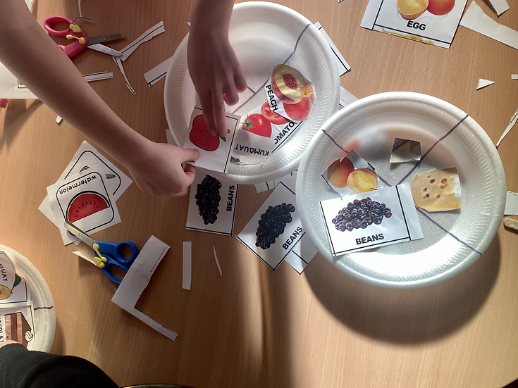 Toy plates with pictures of food