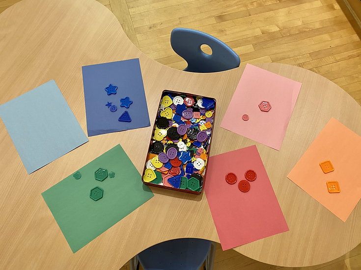 blue, green, red, and orange buttons sorted by colour. Placed on top of corresponding colour construction paper