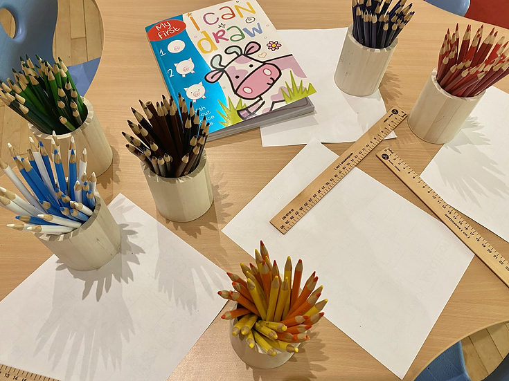 Paper, rulers, and pencil crayons