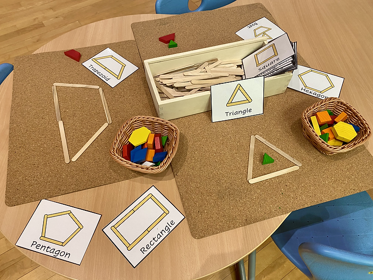 Popsicle sticks and shape cards