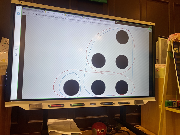 6 large black circles on a smart board