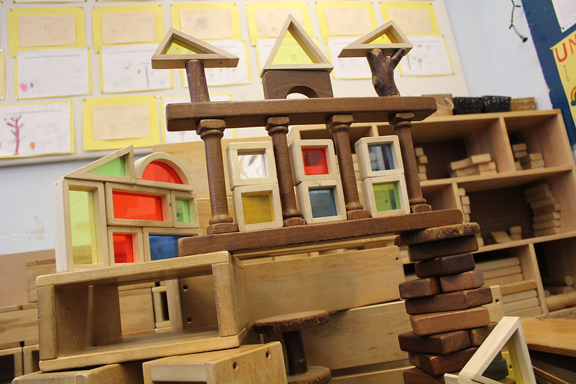 building made with toy wooden blocks