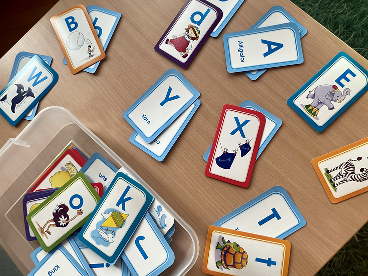 Matching letter cards of upper and lower case letters