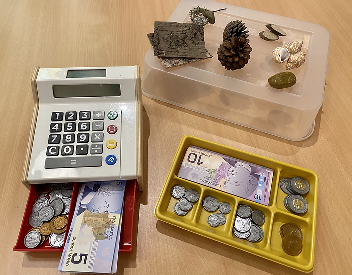 Toy cash register and money