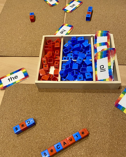 Unifix cubes with letters written on them. Sight word cards