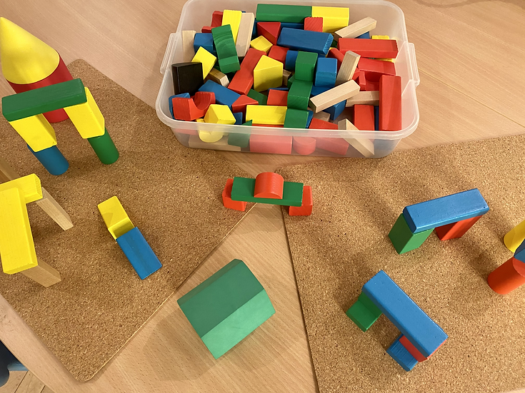 Blocks that are different colours and shapes.