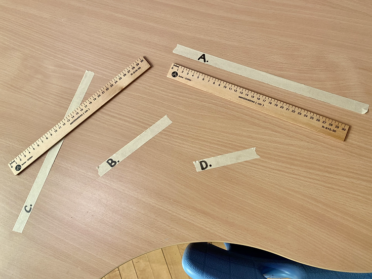 Masking tape and rulers.