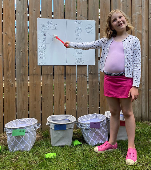 Child pointing to place value chart