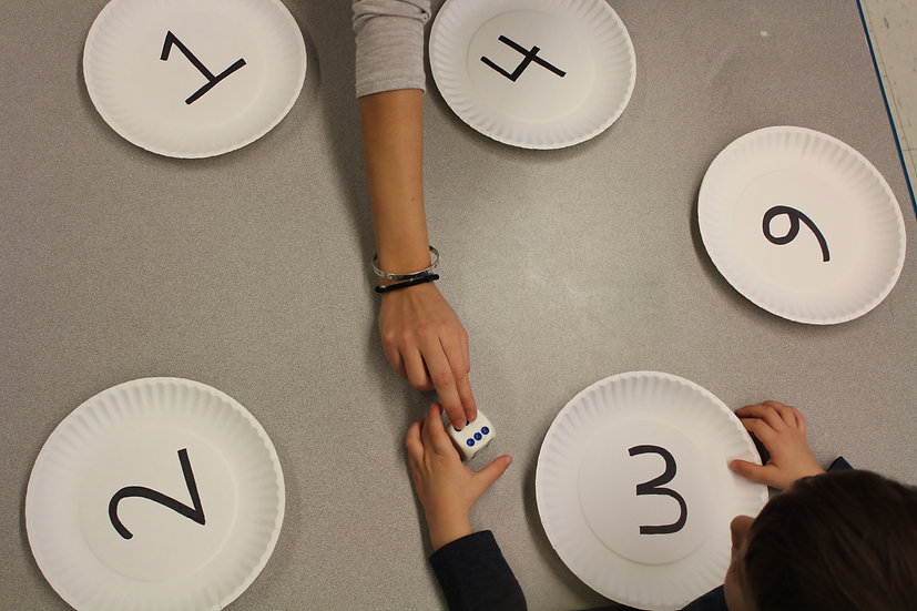 Paper plates with numerals written on