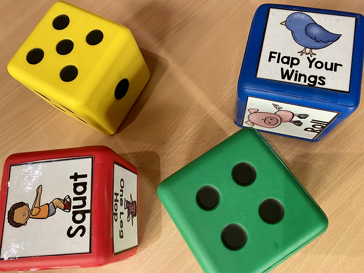 Large foam dice.