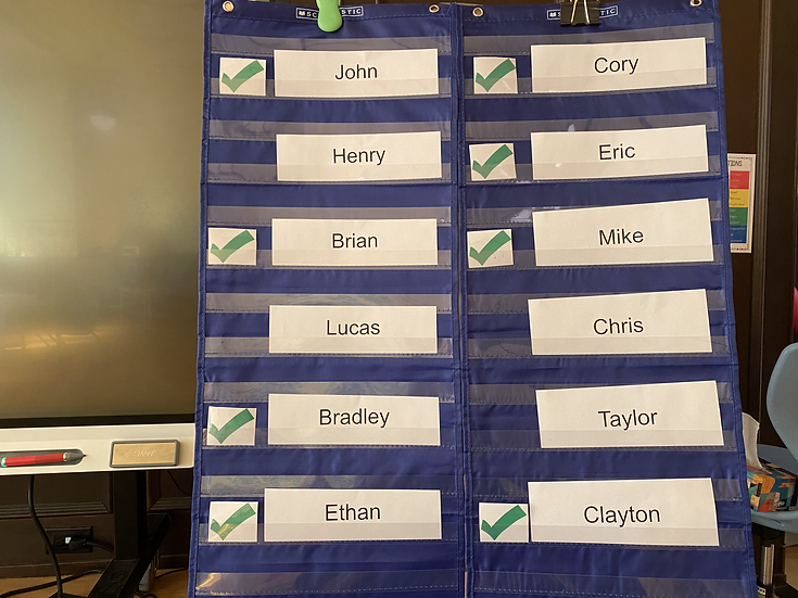 Student names in a pocket chart