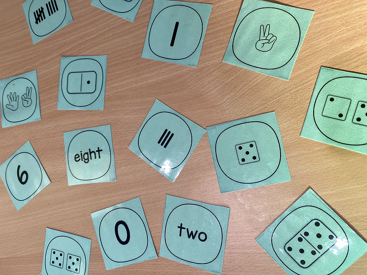 cards with numeral, number words, and dots
